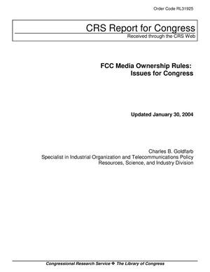 Primary view of object titled 'FCC Media Ownership Rules: Issues for Congress'.
