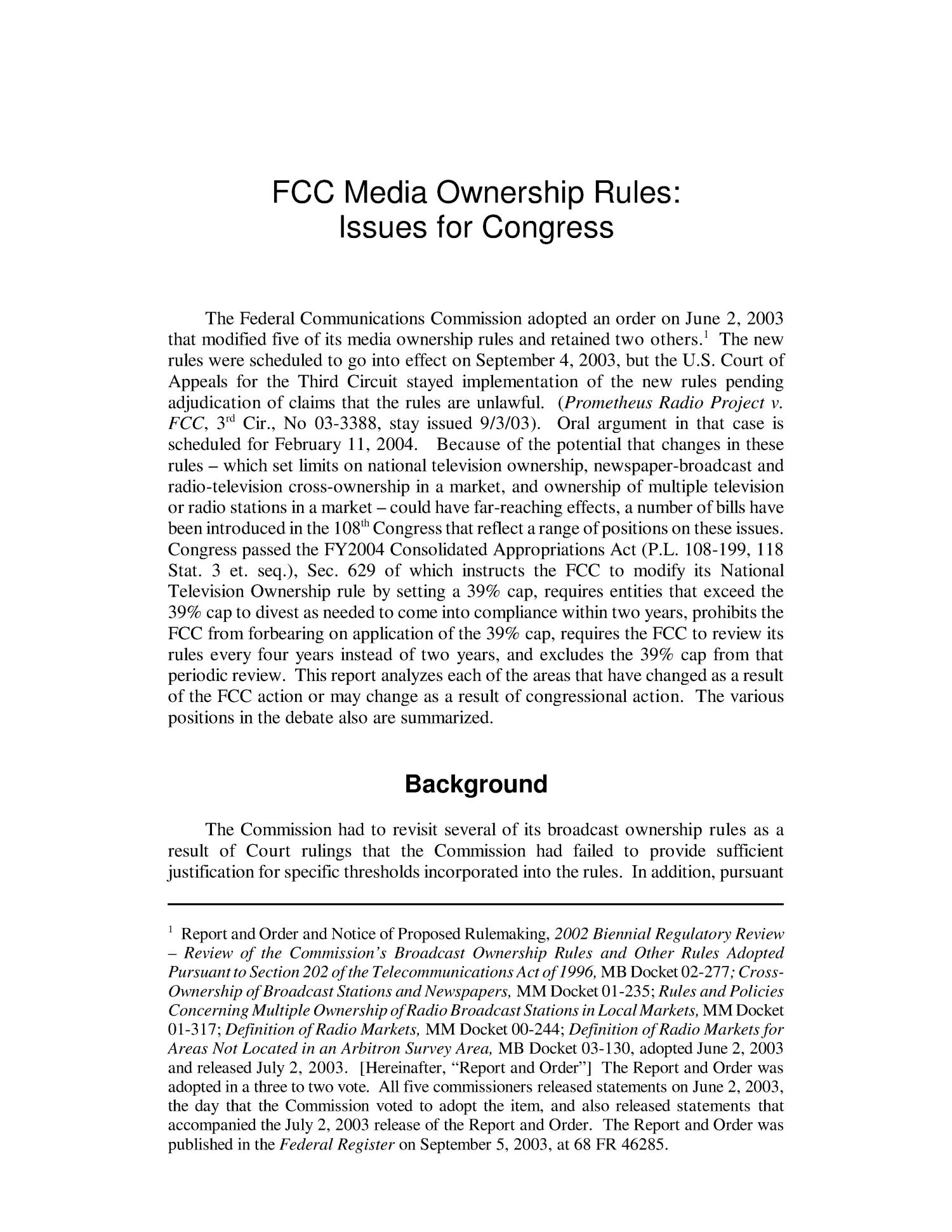 FCC Media Ownership Rules: Issues for Congress                                                                                                      [Sequence #]: 4 of 22