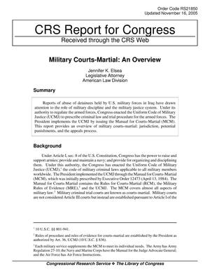 Primary view of object titled 'Military Courts-Martial: An Overview'.