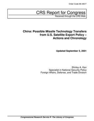 Primary view of object titled 'China: Possible Missile Technology Transfers from U.S. Satellite Export Policy – Actions and Chronology'.