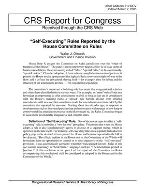 "Primary view of object titled '""Self-Executing"" Rules Reported by the House Committee on Rules'."