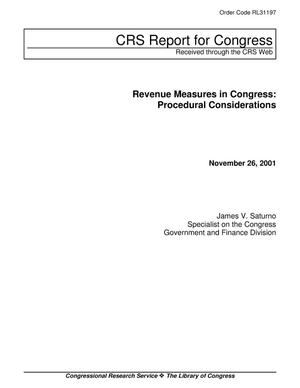 Primary view of object titled 'Revenue Measures in Congress: Procedural Considerations'.