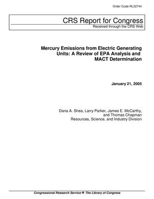 Primary view of object titled 'Mercury Emissions from Electric Generating Units: A Review of EPA Analysis and MACT Determination'.