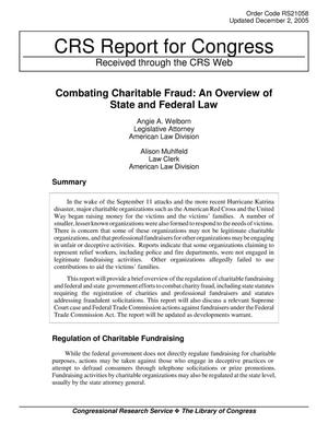 Primary view of object titled 'Combating Charitable Fraud: An Overview of State and Federal Law'.