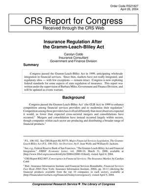 Primary view of object titled 'Insurance Regulation After the Gramm-Leach-Bliley Act'.