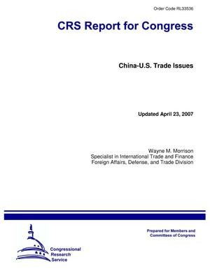 Primary view of object titled 'China-U.S. Trade Issues'.
