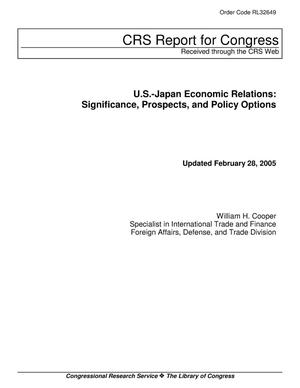 Primary view of object titled 'U.S.-Japan Economic Relations: Significance, Prospects, and Policy Options'.