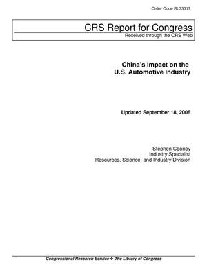 Primary view of object titled 'China's Impact on the U.S. Automotive Industry'.