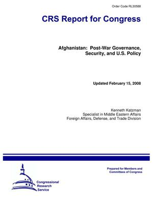 Primary view of object titled 'Afghanistan: Post-War Governance, Security, and U.S. Policy'.