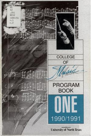 Primary view of object titled 'College of Music program book 1990-1991 Vol. 1'.