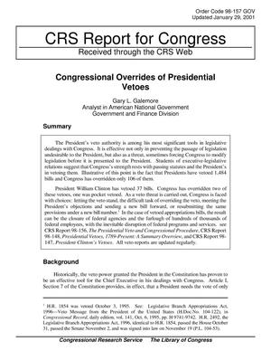 Primary view of object titled 'Congressional Overrides of Presidential Vetoes'.