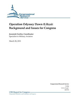 Primary view of object titled 'Operation Odyssey Dawn (Libya): Background and Issues for Congress'.