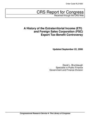 Primary view of object titled 'A History of the Extraterritorial Income (ETI) and Foreign Sales Corporation (FSC) Export Tax-Benefit Controversy'.