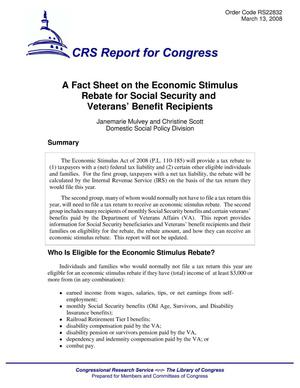 Primary view of object titled 'A Fact Sheet on the Economic Stimulus Rebate for Social Security and Veterans' Benefit Recipients'.