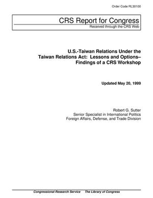 Primary view of object titled 'U.S.-Taiwan Relations Under the Taiwan Relations Act: Lessons and Options– Findings of a CRS Workshop'.