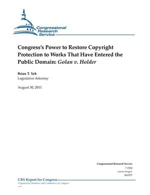 Primary view of object titled 'Congress's Power to Restore Copyright Protection to Works That Have Entered the Public Domain: Golan v. Holder'.
