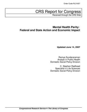 Primary view of object titled 'Mental Health Parity: Federal and State Action and Economic Impact'.