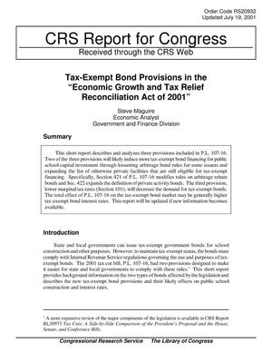 "Primary view of object titled 'Tax-Exempt Bond Provisions in the ""Economic Growth and Tax Relief Reconciliation Act of 2001""'."