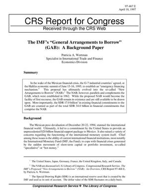 "Primary view of object titled 'The IMF's ""General Arrangements to Borrow"" (GAB): A Background Paper'."