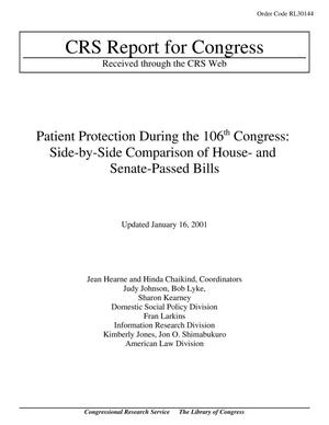Primary view of object titled 'Patient Protection During the 106th Congress: Side-by-Side Comparison of House- and Senate-Passed Bills'.