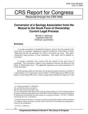Primary view of object titled 'Conversion of a Savings Association from the Mutual to the Stock Form of Ownership: Current Legal Process'.