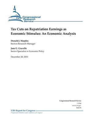 Primary view of object titled 'Tax Cuts on Repatriation Earnings as Economic Stimulus: An Economic Analysis'.