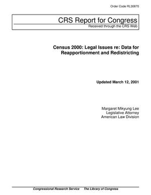 Primary view of object titled 'Census 2000: Legal Issues re: Data for Reapportionment and Redistricting'.