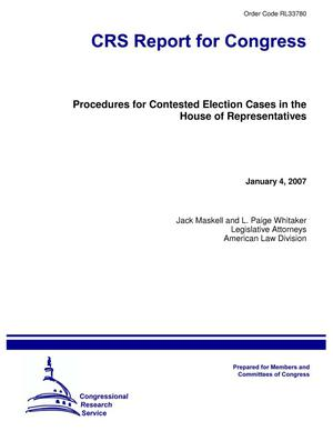 Primary view of object titled 'Procedures for Contested Election Cases in the House of Representatives'.