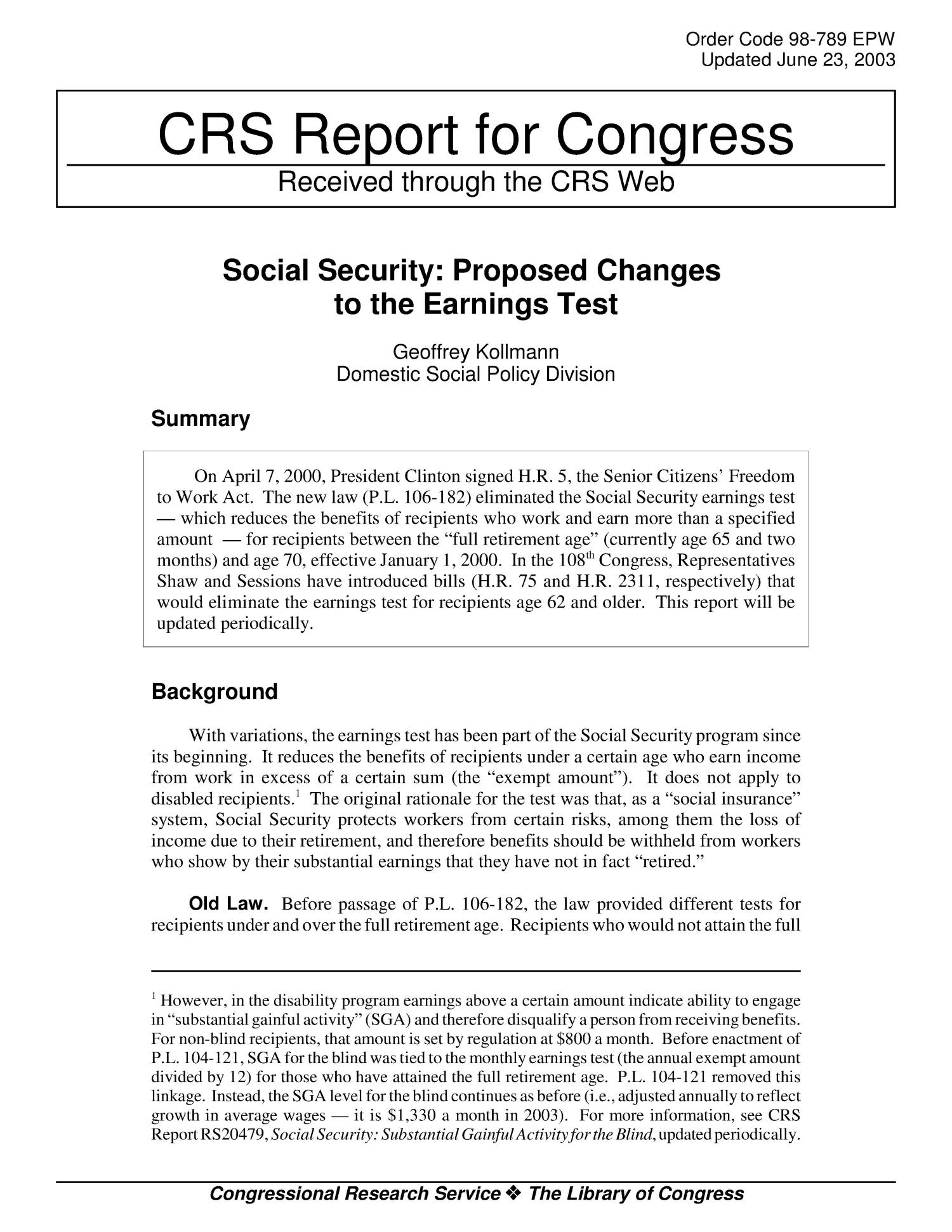 Social Security: Proposed Changes to the Earnings Test                                                                                                      [Sequence #]: 1 of 6