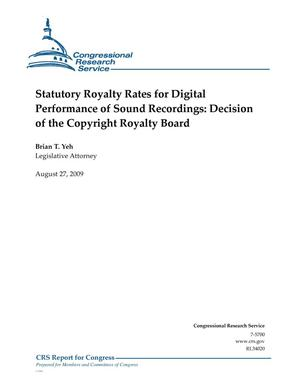 Primary view of object titled 'Statutory Royalty Rates for Digital Performance of Sound Recordings: Decision of the Copyright Royalty Board'.