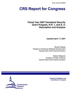 Primary view of object titled 'Fiscal Year 2007 Homeland Security Grant Program, H.R. 1, and S. 4: Description and Analysis'.