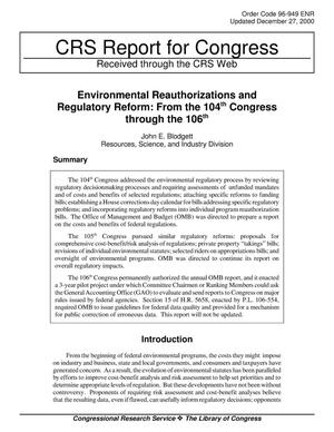 Primary view of object titled 'Environmental Reauthorizations and Regulatory Reform: From the 104th Congress through the 106th'.