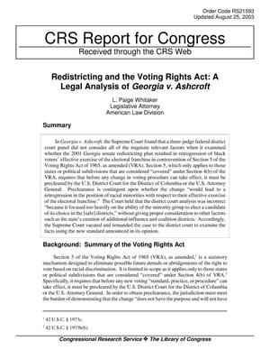Primary view of object titled 'Redistricting and the Voting Rights Act: A Legal Analysis of Georgia v. Ashcroft'.