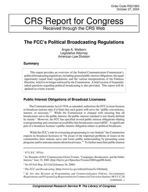 Primary view of object titled 'The FCC's Political Broadcasting Regulations'.