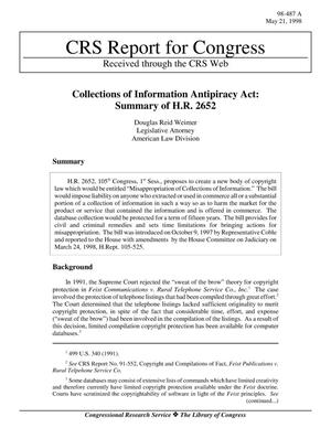 Primary view of object titled 'Collections of Information Antipiracy Act: Summary of H.R. 2652'.