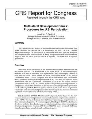 Primary view of object titled 'Multilateral Development Banks: Procedures for U.S. Participation'.