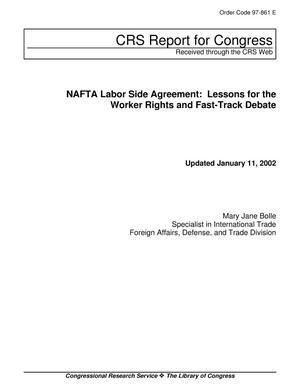 Primary view of object titled 'NAFTA Labor Side Agreement: Lessons for the Worker Rights and Fast-Track Debate'.
