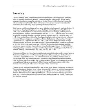 Internet gambling overview of federal criminal law lasvegas usa casino