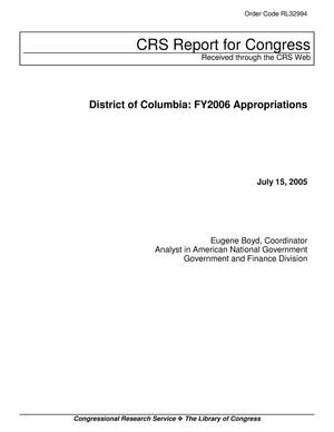 Primary view of object titled 'District of Columbia: FY2006 Appropriations'.