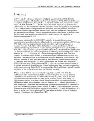 The Proposed U.S.-South Korea Free Trade Agreement (KORUS FTA): Provisions and Implications