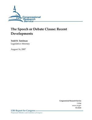 Primary view of object titled 'The Speech or Debate Clause: Recent Developments'.
