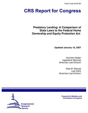 Primary view of object titled 'Predatory Lending: A Comparison of State Laws to the Federal Home Ownership and Equity Protection Act'.