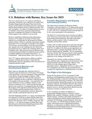Primary view of U.S. Relations with Burma: Key Issues for 2015