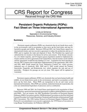 Primary view of object titled 'Persistent Organic Pollutants (POPs): Fact Sheet on Three International Agreements'.