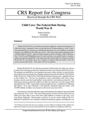 Primary view of object titled 'Child Care: The Federal Role During World War II'.
