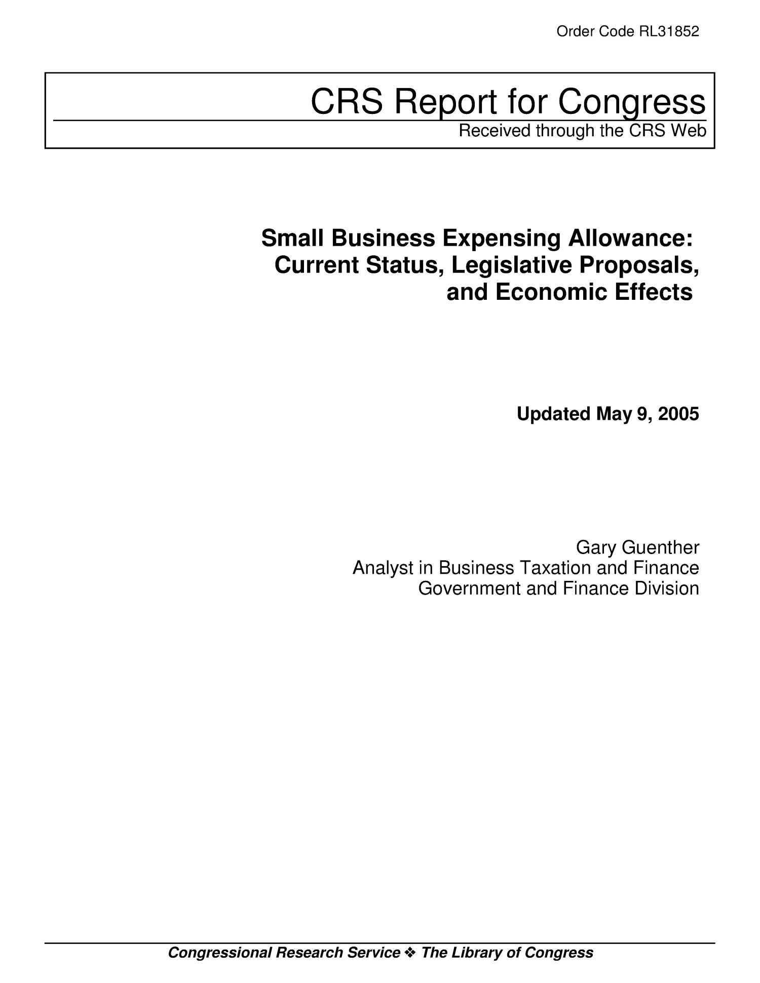 Small Business Expensing Allowance: Current Status, Legislative Proposals, and Economic Effects                                                                                                      [Sequence #]: 1 of 14