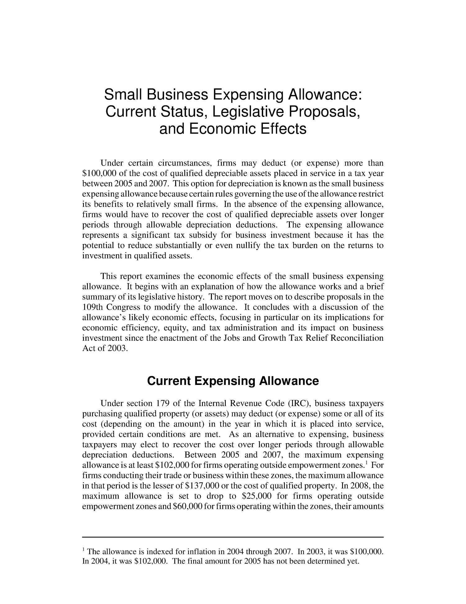 Small Business Expensing Allowance: Current Status, Legislative Proposals, and Economic Effects                                                                                                      [Sequence #]: 4 of 14