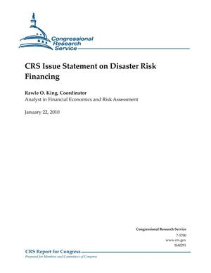 Primary view of object titled 'CRS Issue Statement on Disaster Risk Financing'.