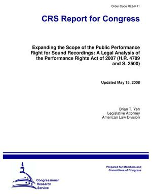 Primary view of object titled 'Expanding the Scope of the Public Performance Right for Sound Recordings: A Legal Analysis of the Performance Rights Act of 2007 (H.R. 4789 and S. 2500)'.