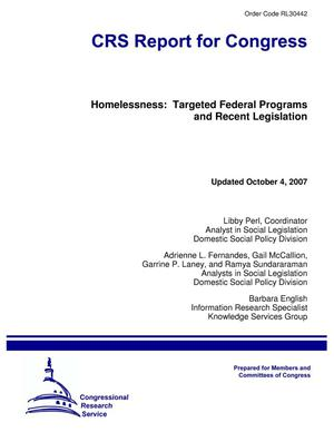 Primary view of object titled 'Homelessness: Targeted Federal Programs and Recent Legislation'.